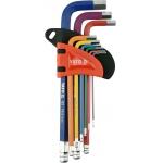 L tipo raktų rinkinys | šarnyriniai | spalvoti / S2 | hex šešiakampis 1,5 - 10 mm | 9 vnt YT-05632)