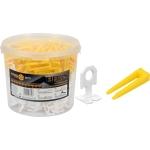 Plytelių išlyginimo sistema   1 mm / 100 pleištų ir 300 spaustukų rinkinys kibire (04715)