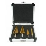 Grąžtai skylės (pa)platinimui pakopiniai | aliuminė dėžutė | 4-12, 4-20, 4-30, 4-32 mm | 4 vnt. (EB-4346A)