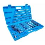 Terkšlinių dvipusių raktų rinkinys | su adapteriais | ilgas tipas | 8 - 19 mm | 14 vnt. (SK5004)