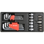 Įrankių rinkinys į vežimėlius - Hex ir Torx raktai, galvutės ir antgaliai 31vnt. (YT-55451)